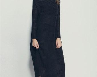 Oversize Black Loose Casual Top / Asymmetric Raglan Long Sleeves Tunic One Size / Maxi Blouse