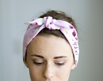 Pink Floral Headband, Tie Up Headscarf, Head Wrap, Hair Accessory, Jersey Knit Knot