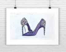 Fashion Art Print Shoes Print Beaded Shoes Fashion Illustration Watercolor Fashion Wall Art Designer Shoe Illustration Fashion Painting Shoe