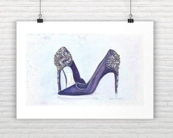 Fashion Art Print Shoes Print Beaded Shoes Fashion Illustration Shoes Fashion Wall Art Designer Shoes Illustration Fashion Painting Shoes