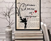 """Peter Pan & Wendy Book Page-""""All it Takes is Faith, Trust and a Little Pixie Dust"""" Tink Quotes TInkerbell Pixie Dust Print, Tinkerbell Quote"""