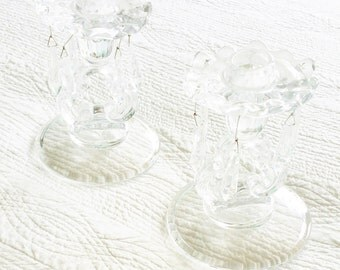 Vintage Cottage Home Fluted Glass Candleholders with Faceted Prism Detailing, Romantic Home, Olives and Doves