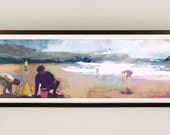 Seascape Mixed Media Painting - Landscape Art / Cornwall Beach / Seascape Painting / Blue Wall Art