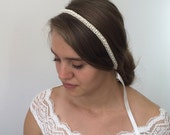 Bridal Lace Headband, Pearls Embroidered Lace Wedding Hairband, Bridal Headpiece, Beadwork, Fast Delivery