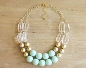 Gold and Mint Statement Necklace, Chunky Beaded Mint Bib Necklace, Layered Mint Necklace