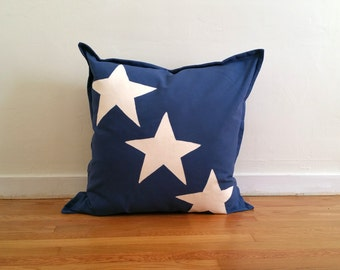 Star Pillow Cover Blue & White Hand-Painted Casual Canvas Great For Kids, Beds, Floor, 24 x 24, 20 x 20 Many Sizes Avail Customizable
