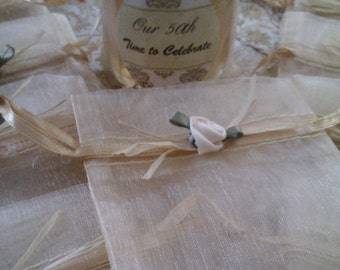 Champagne Gold Favor Bags/ Jewelry Bag/ Hand Decorated/Set of 10-/ 50th Gold Wedding/ Gold Wedding Favor Bag//Treasury Item