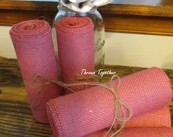 "Baby Pink Burlap Ribbon 6"" Wide, Pink Shower Decor, Pink Ribbon, Spring Decor, Pink Burlap 3yds, Pink Rustic Wedding Decor"