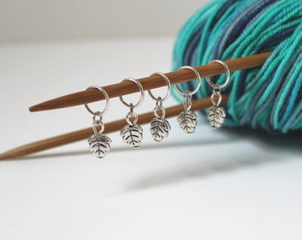 5 Stitch Marker Leaf Set of Silver Knitting Stitchmarker Charms to Mark Stitches Knitting Gift