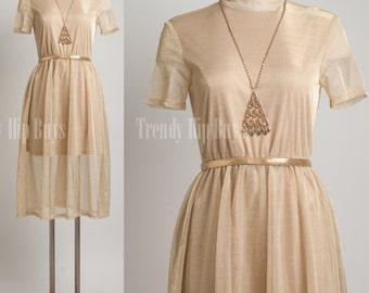 Mod Dress, Vintage Gold Dress, 60s Dress, Mad Men Dress, Vintage party Dress - S/M
