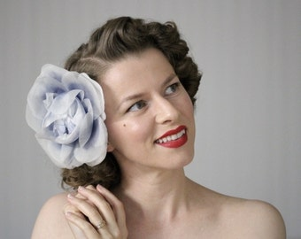 "Large Hair Flower, Powder Blue Fascinator, Oversized Floral Headpiece, Extra Large Hair Clip, Vintage - ""Dancing on Clouds"""