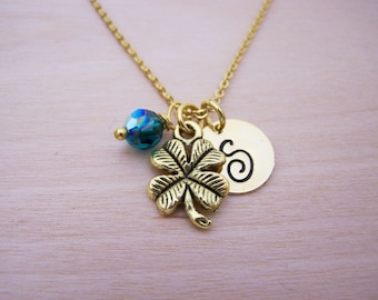 Clover Necklace - Gold Initial Necklace - Birthstone Necklace - Gold Initial Necklace - Personalized Necklace - Lucky Charm