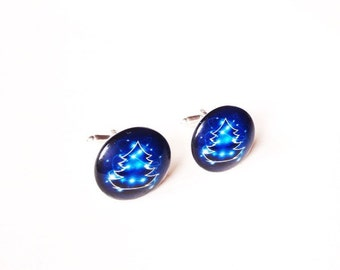 Christmas cufflinks xmas tree cabochon blue glass novelty geek party xmas mens gift