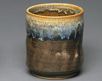 Ceramic Tumbler / Rocks Glass made by hand with brown glaze and texture.