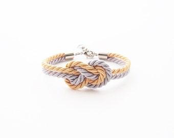 Bridesmaid bracelet - gold silver wedding - beach wedding gift - tie the knot bracelet - nautical wedding gift - bridesmaid gift