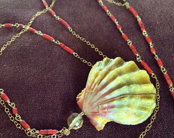Hawaiian Sunrise Shell, Red Coral Pyrite & Citrine 14kt Gold-filled Infinity Necklace