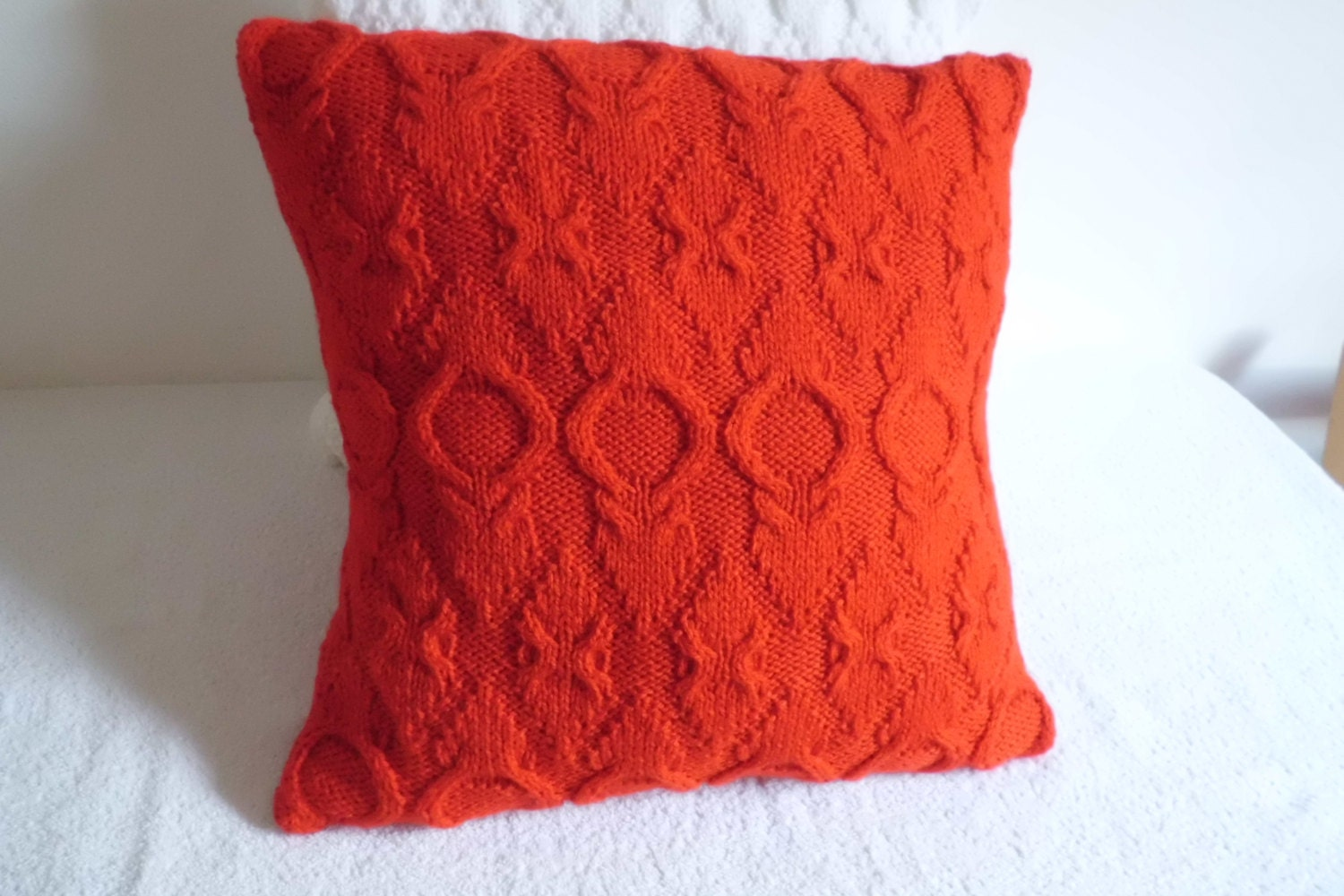red knit pillow covers
