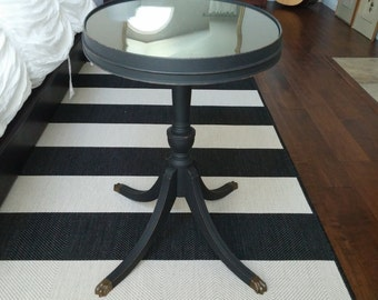SOLD************Antique Wooden End/Side/Coffee Table with Oval Glass Top and Brass Claw Feet-Vintage Black Accent Table-Brandt Furniture Co