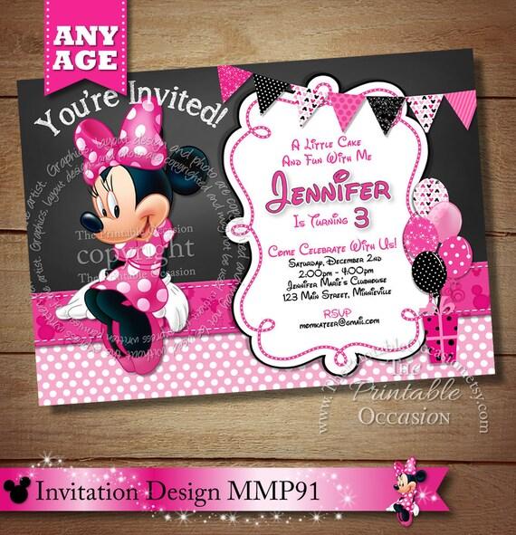 HUGE SELECTION Polka Dot Minnie Mouse Invitation, Pink And Black Minnie Mouse Invitation, Clubhouse Minnie Invitation, Chevron Minnie Party