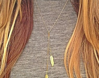 Double Feather Lariat Necklace - Gold Feather Y Necklace - Gold or Silver Feather Necklace