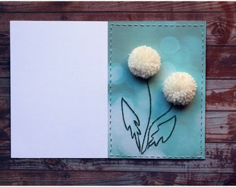 Stitched cards 3D Dandelions cards Creative idea 2 flowers Original Handmade card gift for little ones Blank inside 30% sale FREE SHIPPING