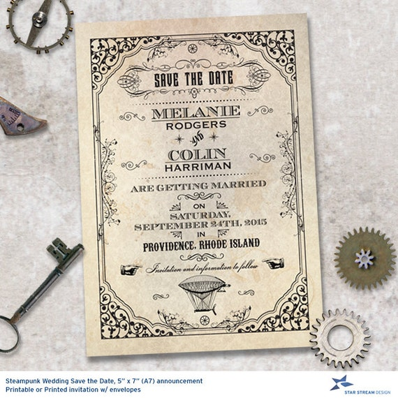 steampunk wedding invitations steampunk save the date wedding announcement by 7696