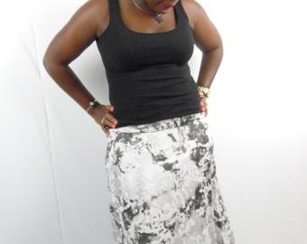 Plus size clouded tie dye floor length maxi skirt