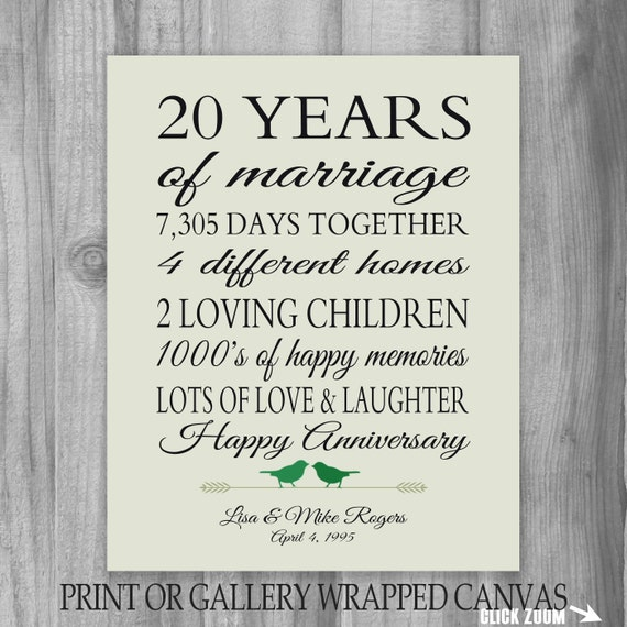 20th Anniversary Gift 20 Year Anniversary Gift Canvas/ Print