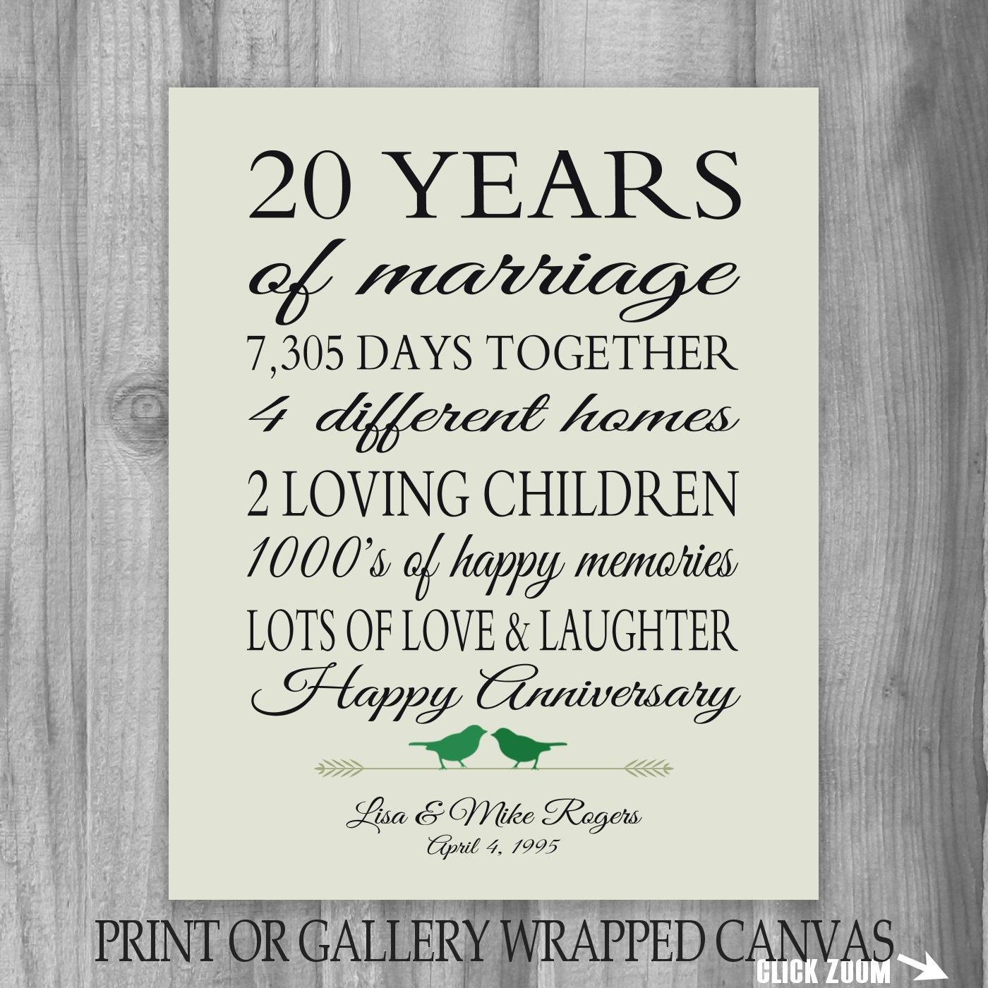 20 Years Wedding Anniversary Gifts: 20th Anniversary Gift 20 Year Anniversary Gift Canvas/ Print