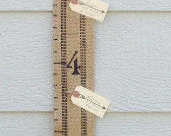 Fabric Jute Growth Chart for Kids - 6 Foot Child's Height Chart Perfect for Your Rustic Decor