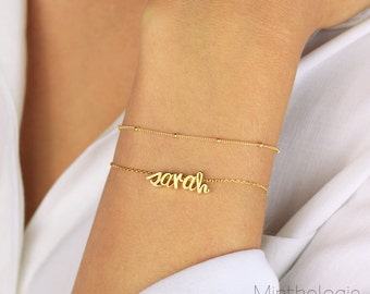 Name Bracelet B4 • personalized love friendship customized monogram initial cursive script dainty layering bridesmaids gift