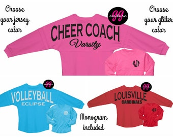 Custom Glitter Game Day Jersey - Customize with Any Text - Multiple Text and Tee Color Options