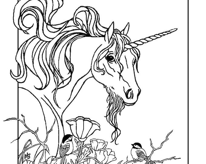 ADULT COLORING PAGE: fantasy, unicorn, chickadees, flowers, garden, digital download, original art,