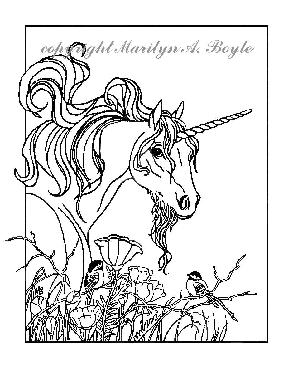 ADULT COLORING PAGE: fantasy unicorn chickadees flowers