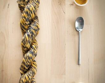 Ramie skein in orange and dark brown, hand spun yarn turmeric and coffee