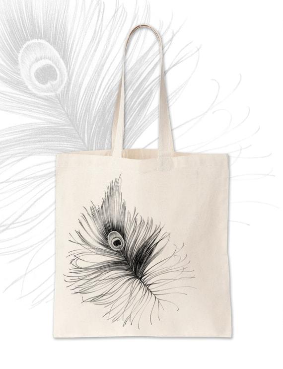 sac main plume paon dessin original art artiste par. Black Bedroom Furniture Sets. Home Design Ideas