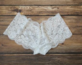 White Lace Bridal Panties, White Cheeky Panties, White Bridal Panties, White Lace Panties, Handmade Lace Panties, White Panties