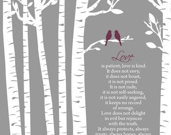 Personalized Birch Trees with Love Birds - Name and Date/1 Corinthians 13:4-7 Love is Patient Love is Kind/Wedding Gift/Shower Gift/ 8x10+