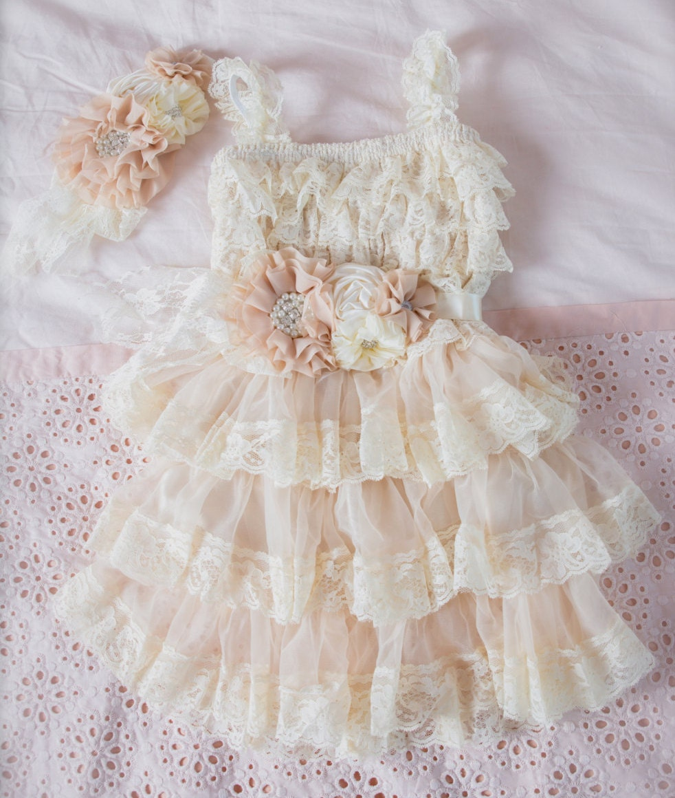 Rustic Flower Girl Dress-Lace Pettidress By CountryCoutureCo