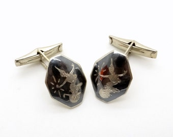 Sterling Silver Cuff Links - Art Deco Niello Cufflinks - 1930s Jewellery - Mens Cufflinks - Mekkala Goddess of Lightning - Made in Siam