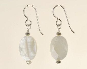 White Oyster Shell Drop Earrings Spring Summer Jewelry Birthday Gift for Her Boho Organic Artisan Beach Sterling Silver Dangle Earrings