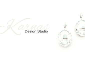 CRYSTAL SILVER 16mm Classical Crystal Drop Earrings Made With Swarovski Elements *Pick Your Finish *Karnas Design Studio *Free Shipping*