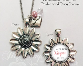 FLOWER GIRL GIFT, flower girl necklace, personalized flower girl pendant, Daisy necklace, flower girl charm
