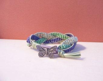 Butterfly Braided Leather Cuff Bracelet, Green, Purple, Silver Beads, Beaded Leather Bracelet, Beaded Leather Cuff, Butterfly Bracelet