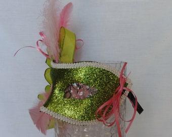 Pink and Green Masquerade Mask
