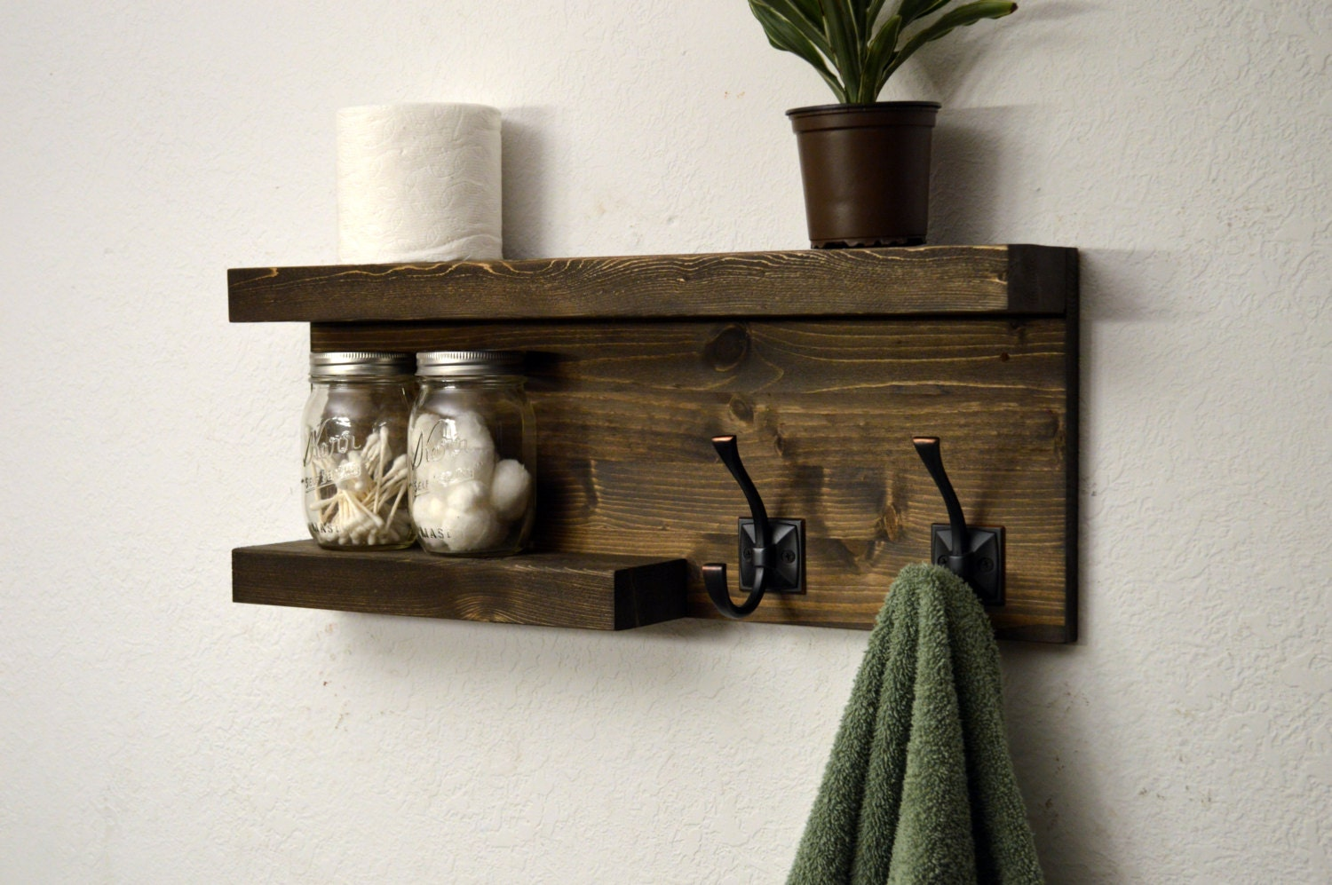 modern bathroom 2 tier floating shelf towel by rusticmoderndecor