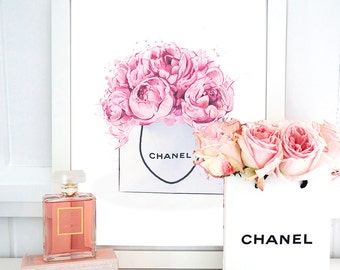 INSTANT DOWNLOAD Chanel Print Peonies Bag. Watercolor artwork. Fashion Illustration. Modern Home Décor.
