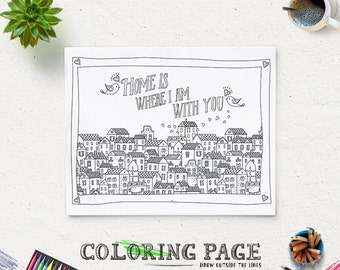 printable quote coloring page instant download home is where i am with you digital art printable - Quote Coloring Pages