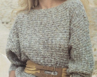 Womens easy knit sweater jumper vintage knitting pattern pdf INSTANT download pattern only pdf 1980s