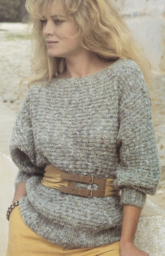Womens easy knit sweater jumper vintage knitting pattern ...